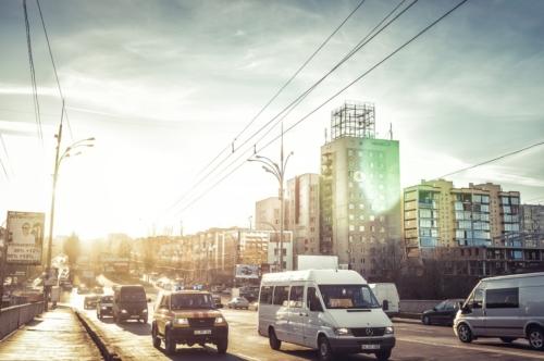 Traffic at evening on Grigore Vieru Boulevard. Chisinau - slon.pics - free stock photos and illustrations