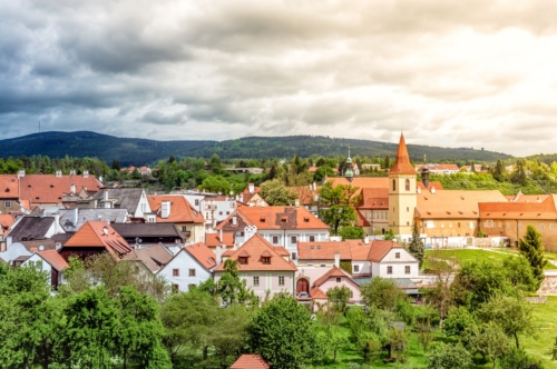 View of the Monastery of the Minorites and old town of Cesky Krumlov. Czech Republic - slon.pics - free stock photos and illustrations