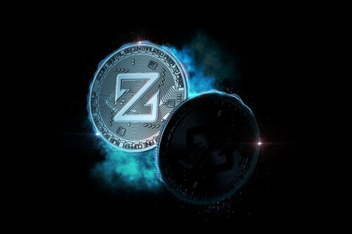 ZCoin coins glowing in the dark - slon.pics - free stock photos and illustrations