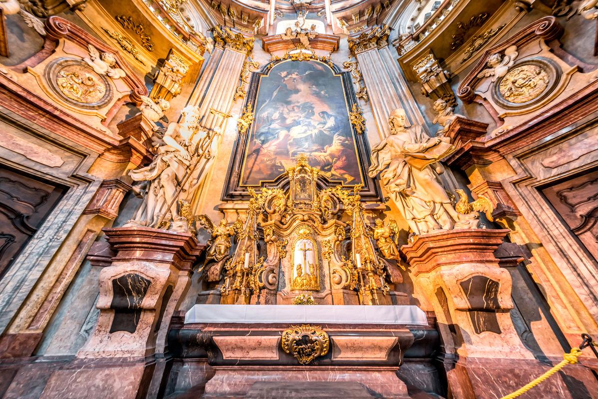 Baroque interior of St Nicholas church. Lesser town, Prague, Czech Republic - slon.pics - free stock photos and illustrations