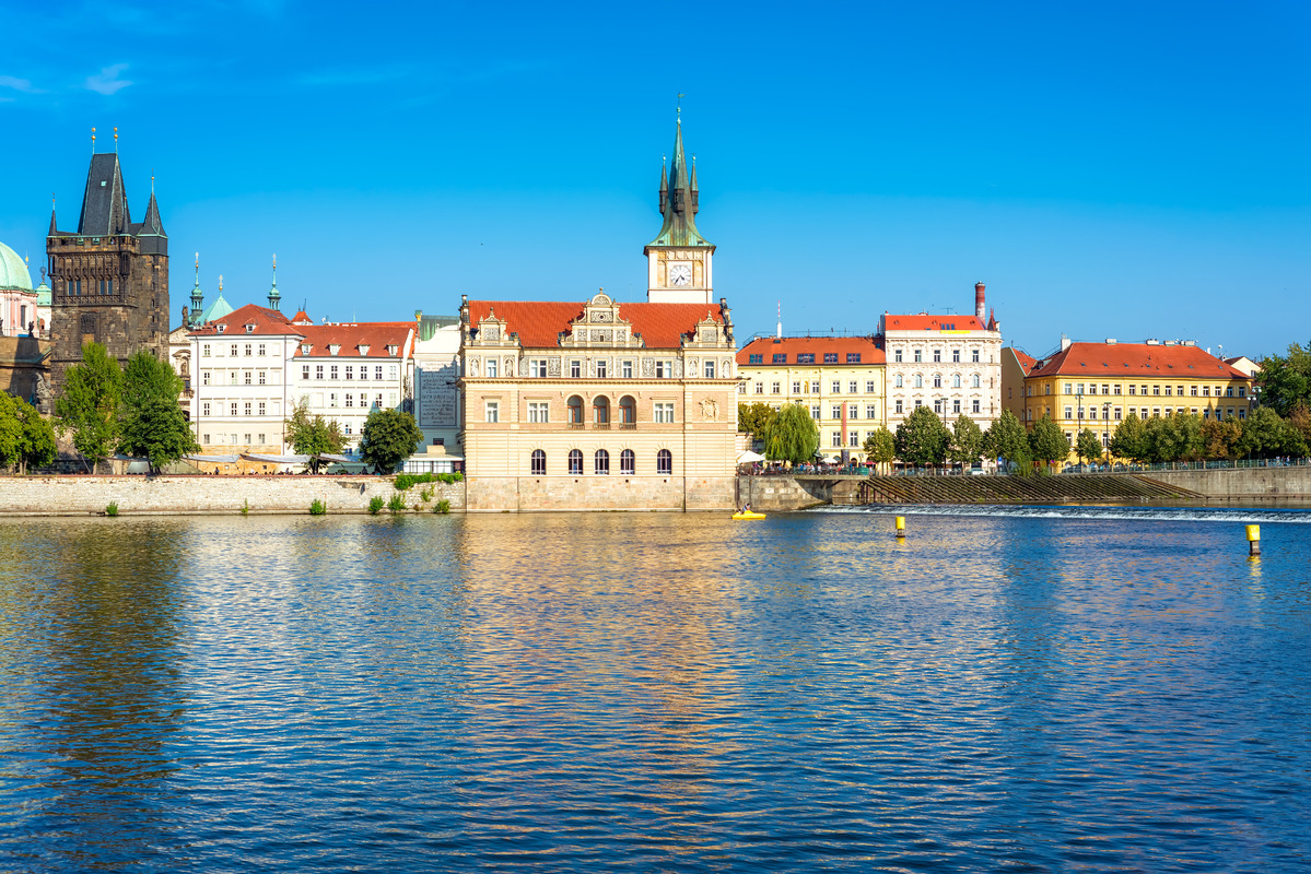 Bedrich Smeatana museum on the right bank of the river Vltava. Old Town of Prague, Czech Republic - slon.pics - free stock photos and illustrations