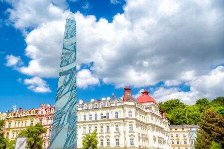 Column at Masaryka pedestrian street. Karlovy Vary, Czech Republic - slon.pics - free stock photos and illustrations