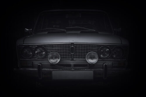 Front view of an old Russian car - slon.pics - free stock photos and illustrations