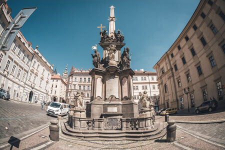 Holy Trinity Column at Lesser Town Square (Malostranske namesti). Prague Czech Republic. - slon.pics - free stock photos and illustrations
