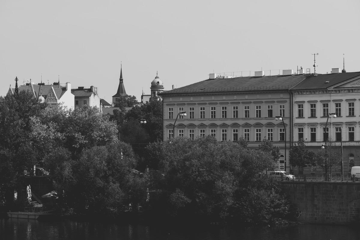 Janackovo embankment (Janackovo nabrezi) at night. Prague, Czech Republic - slon.pics - free stock photos and illustrations