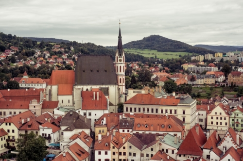 Overlooking the historic town of Cesky Krumlov. Czech Republic - slon.pics - free stock photos and illustrations
