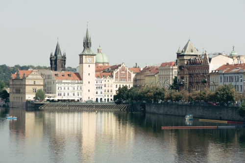Prague towers and Vltava river on sunny day. Czech Republic - slon.pics - free stock photos and illustrations