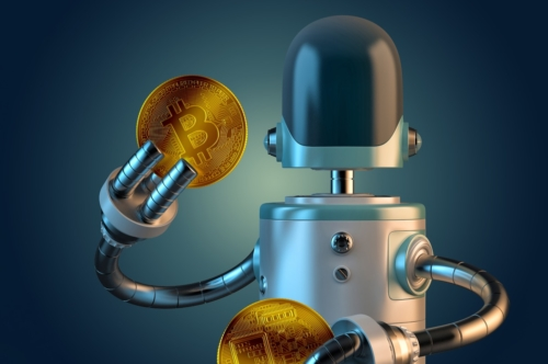 Robot hold bitcoin coins - slon.pics - free stock photos and illustrations