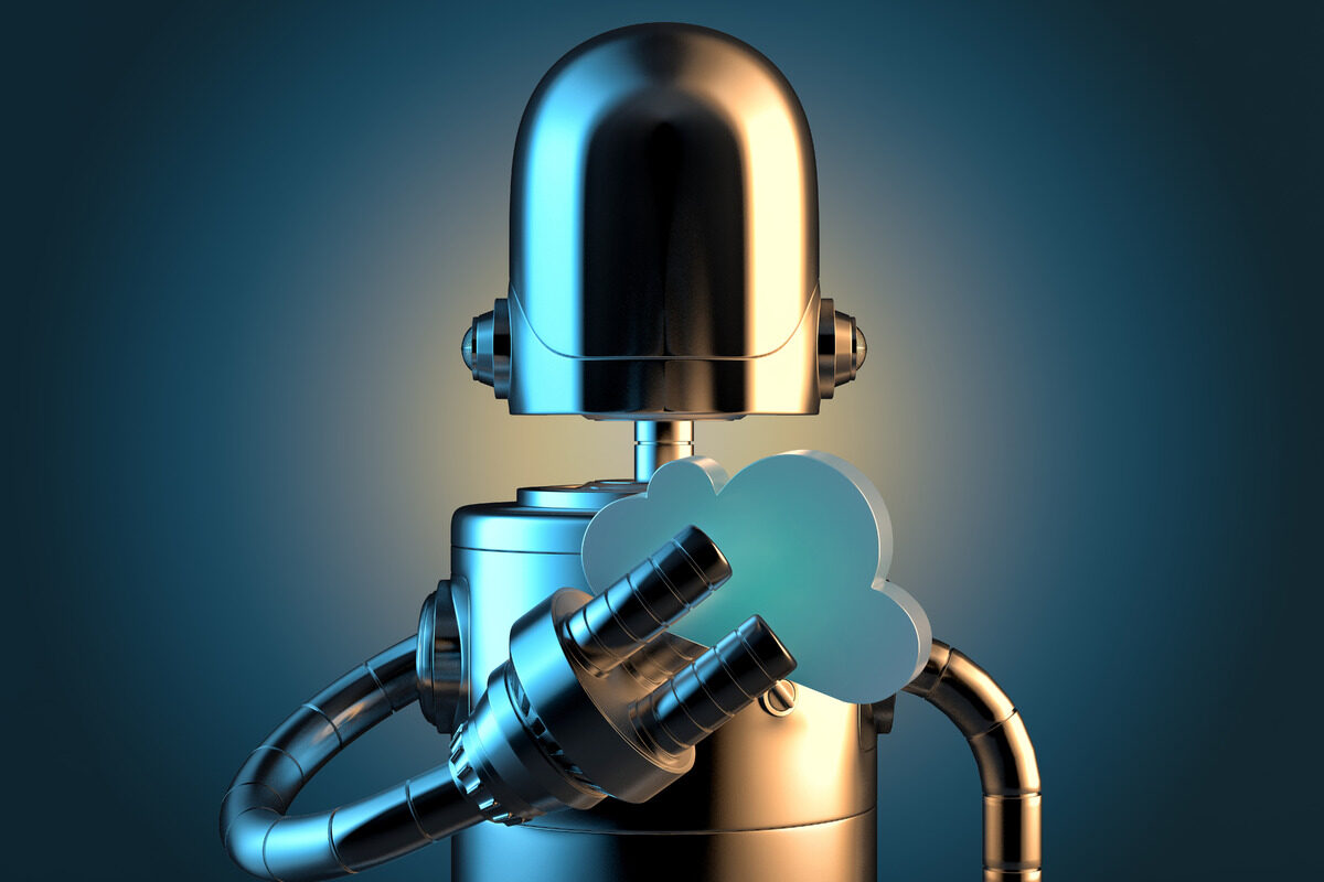 Robot with cloud symbol. Cloud technology concept - slon.pics - free stock photos and illustrations