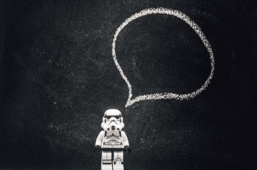 Stormtrooper with speech bubble - slon.pics - free stock photos and illustrations