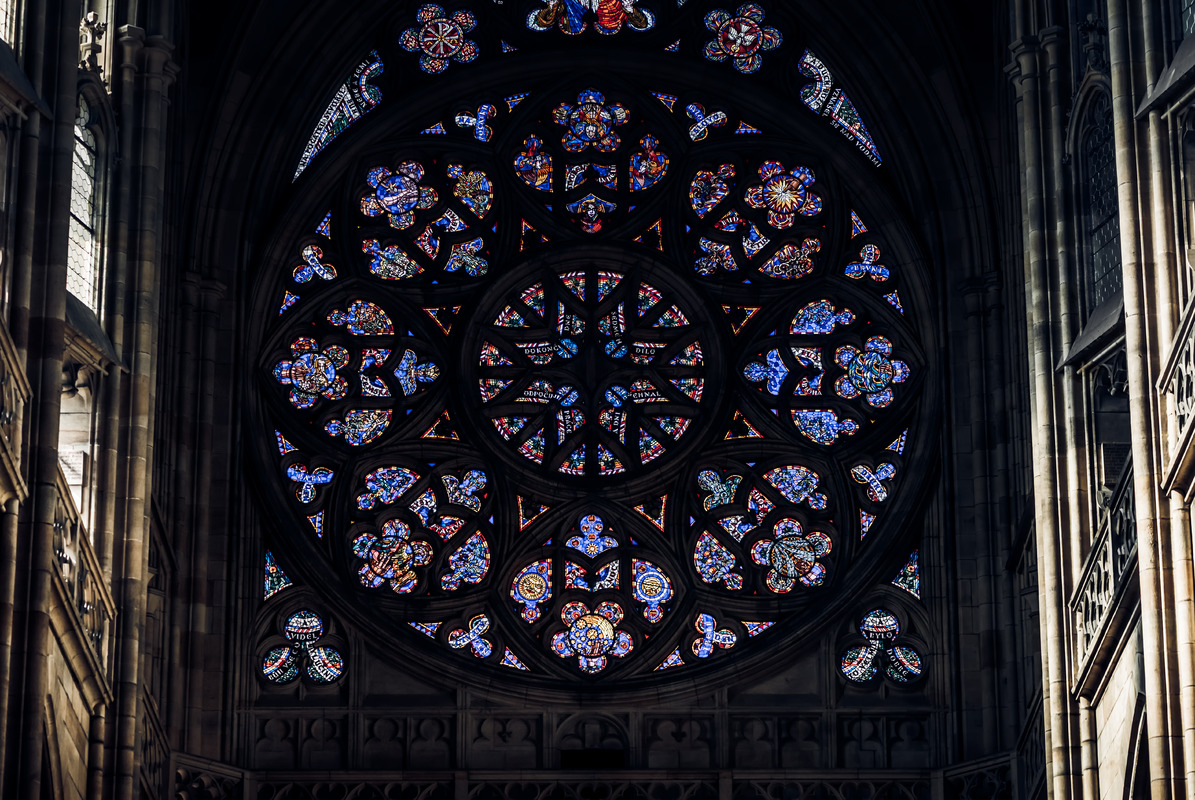 The magnificent stained glass in Prague's St. Vitus Cathedral. Prague, Czech Republic - slon.pics - free stock photos and illustrations