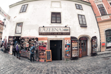 Tourists walking in the Historic old town of Cesky Krumlov - slon.pics - free stock photos and illustrations