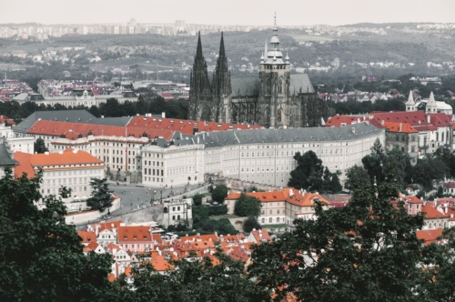 View from above with St. Vitus Cathedral. Prague, Czech Republic - slon.pics - free stock photos and illustrations
