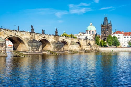 View of Prague castle and Charles bridge over Vltava river, Czech Republic - slon.pics - free stock photos and illustrations