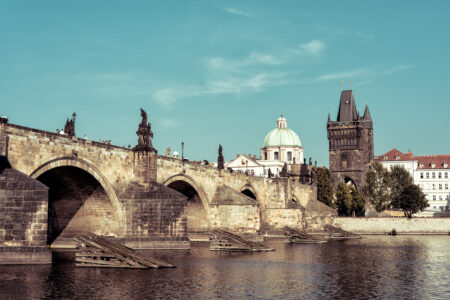 View of the Charles Bridge and Old Town. Prague, Czech Republic - slon.pics - free stock photos and illustrations