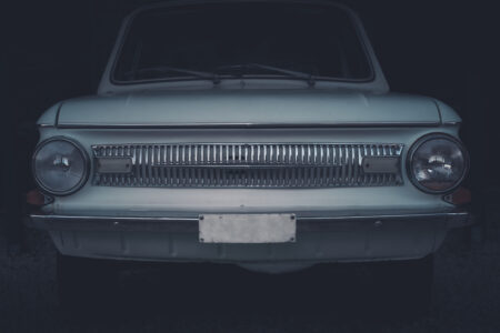 Front view of black retro Soviet car - slon.pics - free stock photos and illustrations
