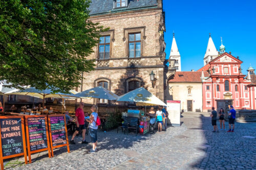 Restaurant terrace near Saint George monastery at Prague Castle - slon.pics - free stock photos and illustrations